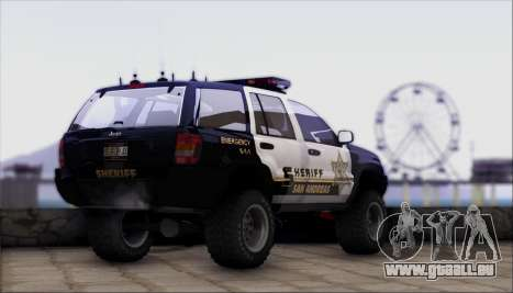 Jeep Grand Cherokee 1999 Sheriff für GTA San Andreas linke Ansicht