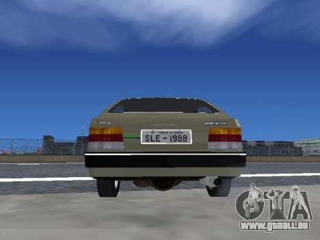 Chevrolet Chevette Hatch pour GTA San Andreas vue intérieure