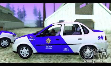 Chevrolet Corsa Classic Policia de Santa Fe pour GTA San Andreas sur la vue arrière gauche