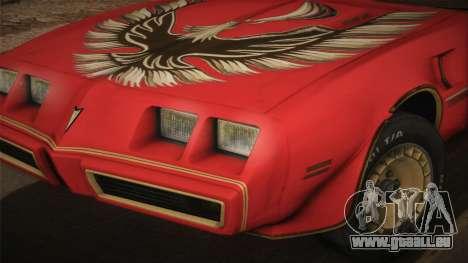 Pontiac Turbo Trans Am 1980 Bandit Edition pour GTA San Andreas sur la vue arrière gauche