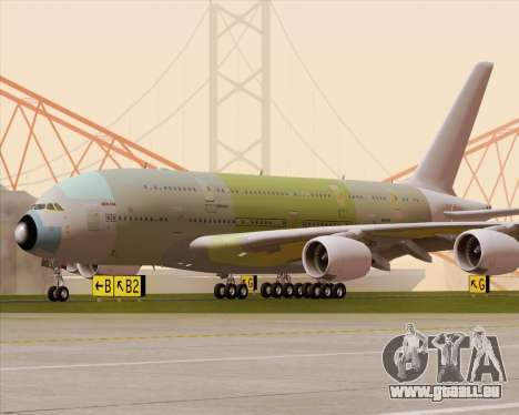 Airbus A380-800 F-WWDD Not Painted pour GTA San Andreas vue de dessus