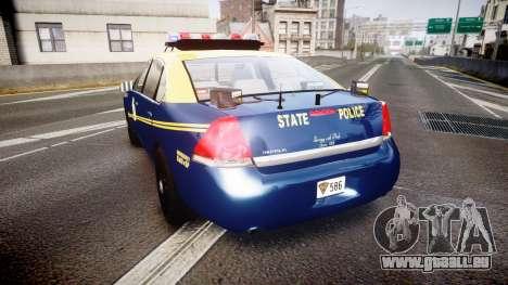 Chevrolet Impala West Virginia State Police ELS pour GTA 4 Vue arrière de la gauche