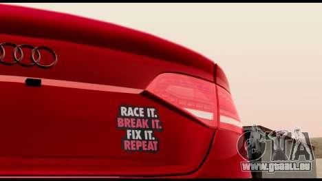 Audi S4 2010 Blacktop pour GTA San Andreas vue arrière