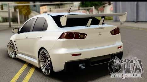 Mitsubishi Lancer X RE-Racing Edition pour GTA San Andreas laissé vue