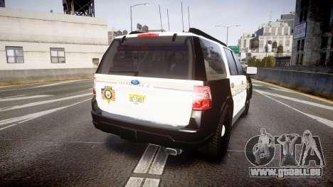 Ford Expedition 2010 Sheriff [ELS] pour GTA 4 Vue arrière de la gauche