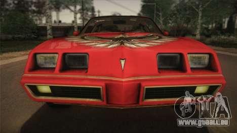 Pontiac Turbo Trans Am 1980 Bandit Edition pour GTA San Andreas vue arrière