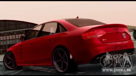 Audi S4 2010 Blacktop pour GTA San Andreas laissé vue