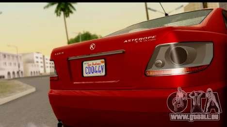 GTA 5 Karin Asterope pour GTA San Andreas sur la vue arrière gauche