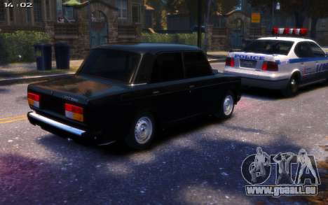 VAZ 2107 R13 pour GTA 4 Vue arrière de la gauche