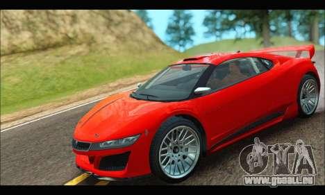 Dinka Jester Racecar (GTA V) (IVF) pour GTA San Andreas sur la vue arrière gauche