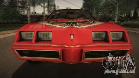 Pontiac Turbo Trans Am 1980 Bandit Edition pour GTA San Andreas vue intérieure