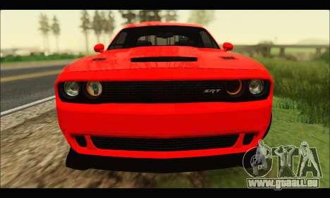 Dodge Challenger SRT HELLCAT 2015 pour GTA San Andreas laissé vue