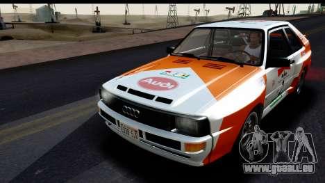 Audi Sport Quattro B2 (Typ 85Q) 1983 [HQLM] für GTA San Andreas Unteransicht