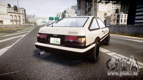 Toyota AE86 Tofu pour GTA 4 Vue arrière de la gauche