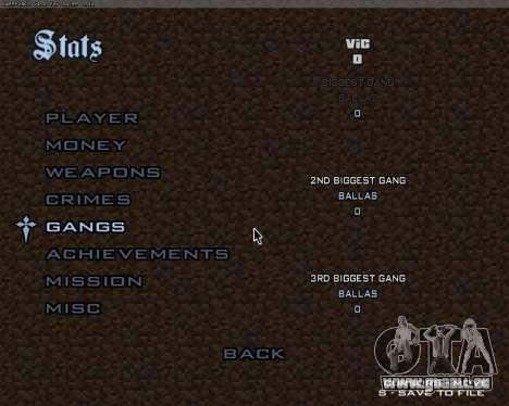 Minecraft Menu pour GTA San Andreas troisième écran