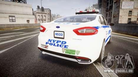 Ford Fusion 2014 NYPD [ELS] für GTA 4 hinten links Ansicht