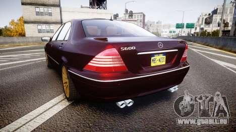 Mercedes-Benz S600 W220 für GTA 4 hinten links Ansicht