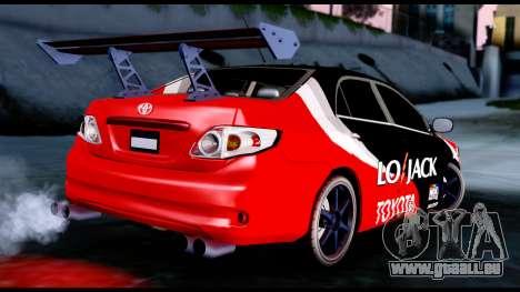Toyota Corolla 2012 LOJACK Racing für GTA San Andreas linke Ansicht