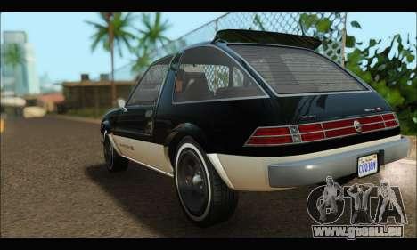 Declasse Rhapsody (GTA V) (SA Mobile) pour GTA San Andreas sur la vue arrière gauche