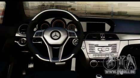 Mercedes-Benz C63 AMG 2012 Black Series pour GTA San Andreas vue arrière