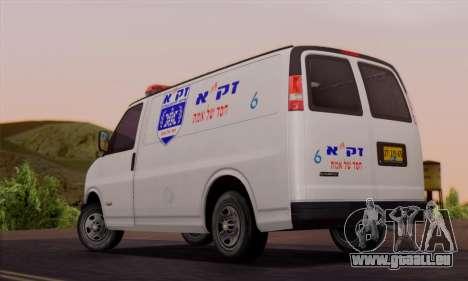 Chevrolet Exspress Ambulance für GTA San Andreas zurück linke Ansicht