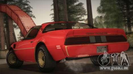 Pontiac Turbo Trans Am 1980 Bandit Edition pour GTA San Andreas laissé vue