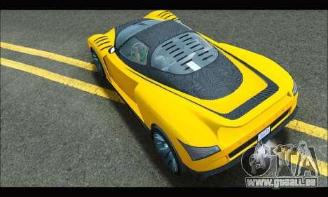 Grotti Cheetah v3 (GTA V) (IVF) pour GTA San Andreas sur la vue arrière gauche