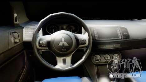 Mitsubishi Lancer X RE-Racing Edition pour GTA San Andreas sur la vue arrière gauche