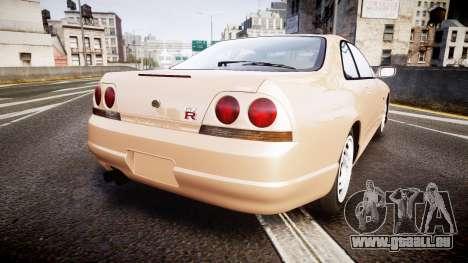 Nissan Skyline R33 GT-R V.spec 1995 pour GTA 4 Vue arrière de la gauche