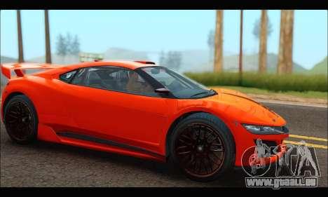 Dinka Jester Racecar (GTA V) pour GTA San Andreas sur la vue arrière gauche