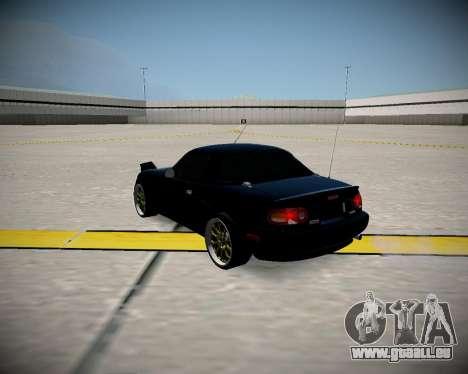 Mazda MX-5 JDM pour GTA San Andreas sur la vue arrière gauche