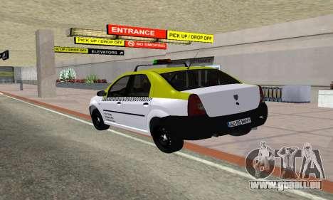 Dacia Logan Taxi für GTA San Andreas zurück linke Ansicht