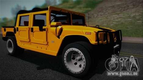 Hummer H1 Alpha OpenTop 2006 Stock pour GTA San Andreas sur la vue arrière gauche