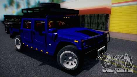 Hummer H1 Alpha OpenTop 2006 Stock pour GTA San Andreas vue de dessus