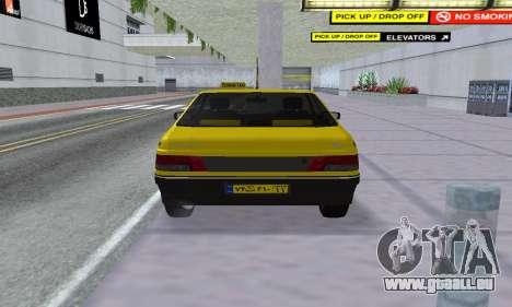 Peugeot 405 Roa Taxi pour GTA San Andreas vue arrière
