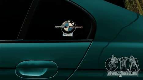 BMW 540 E39 Accuair pour GTA San Andreas vue intérieure