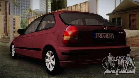 Honda Civic 1.4i S TMC pour GTA San Andreas laissé vue