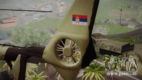 SA 342 Serbian Police Gazelle CAMO für GTA San Andreas zurück linke Ansicht