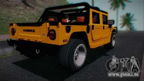 Hummer H1 Alpha OpenTop 2006 Stock pour GTA San Andreas laissé vue