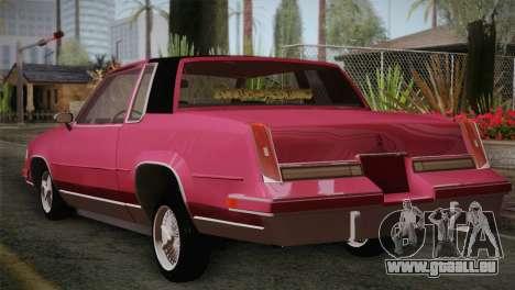 Oldsmobile Cutlass 1987 v2.2 pour GTA San Andreas laissé vue