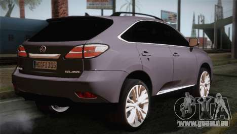 Lexus RX450H 2012 pour GTA San Andreas laissé vue