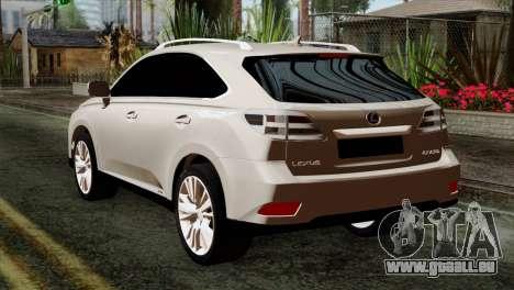 Lexus RX450H v2 pour GTA San Andreas laissé vue