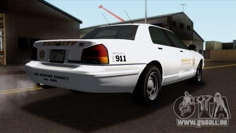 GTA 5 Vapid Stanier Sheriff SA Style für GTA San Andreas linke Ansicht
