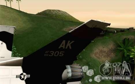 F-16C Fighting Falcon Aggressor Alaska BlackGrey pour GTA San Andreas sur la vue arrière gauche