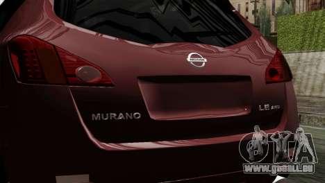 Nissan Murano 2008 für GTA San Andreas Rückansicht