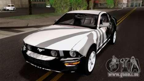 Ford Mustang GT Wheels 2 pour GTA San Andreas vue de dessus