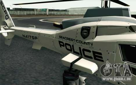 NFS HP 2010 Police Helicopter LVL 1 pour GTA San Andreas vue arrière