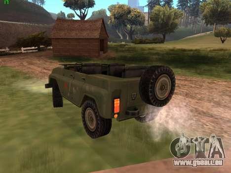 UAZ militaire pour GTA San Andreas sur la vue arrière gauche