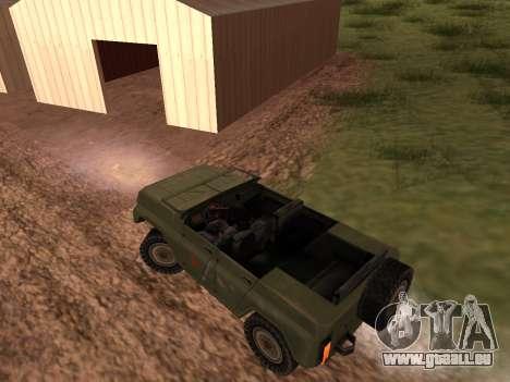 UAZ militaire pour GTA San Andreas vue de droite