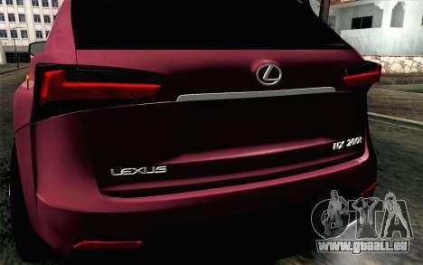 Lexus NX 200T v3 pour GTA San Andreas vue arrière